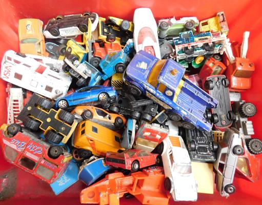 Box of mixed toy cars including Corgi, Matchbox etc.