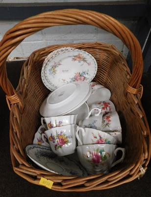 Basket of china incl. Royal Albert