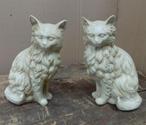 Pair of vintage resin cats