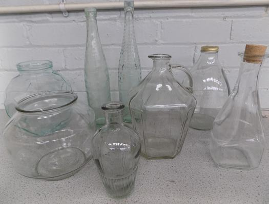 Collection of assorted unusual clear glassware bottles & flagons etc...