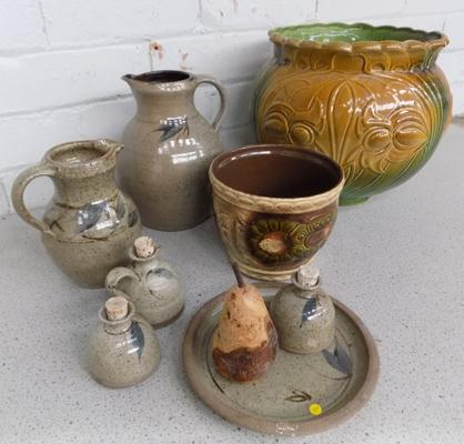 Collection of Studio pottery & large pot