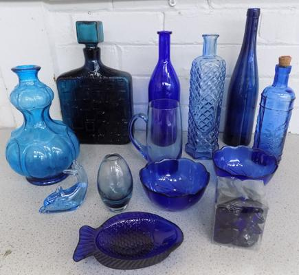 Mix of cobalt blue glassware