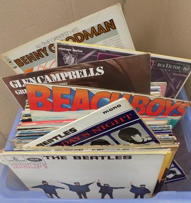 Large box of LPs many Beatles