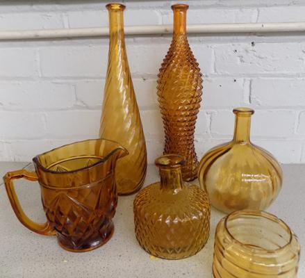 Mix of amber glassware