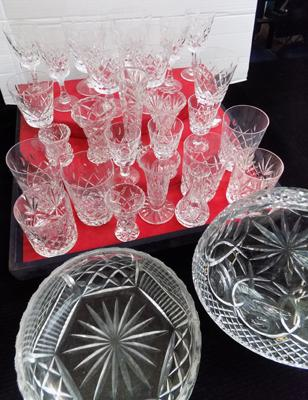 Large Collection of Royal Brierly (Dartington) Cut Crystal glasses, tumblers, fruit bowls etc.