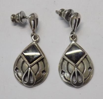 Rare vintage, Kit Heath designer, silver Art Nouveau earrings