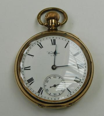 Antique Waltham open face pocket watch, gold plated