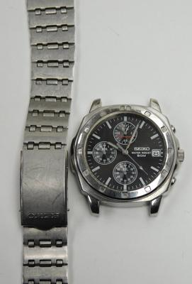 Vintage gents Seiko chronograph 50m divers watch - needs new pins for strap