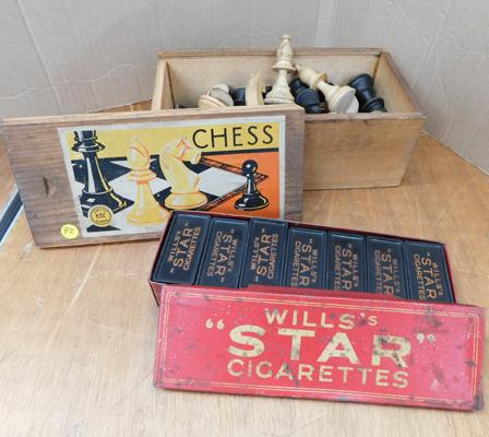 Vintage Wills star cigarette dominoes in tin case and vintage chess set - no board