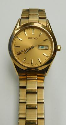 Vintage Seiko day/date, quartz movement, gold plated, gents watch
