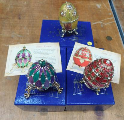 3x Faberge style eggs - all boxed 2x with paperwork - atlas editions
