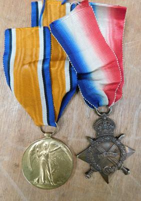 WWI Victory medal and star, both inscribed to PTE F French 92608 North D Fus.