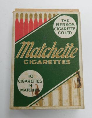 Rare packet of Matchette cigarettes & matches, complete, circa 1926