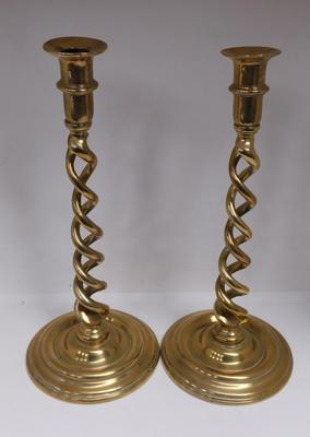 Large pair of antique open twist brass candlesticks, circa 1920s, approx. 12 3/4 inches high