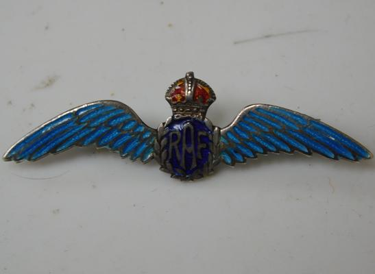 WWII Royal Air Force solid silver enamelled brooch - stamped to back