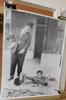 Black & white Laurel & Hardy poster (22 inches x 18 inches)