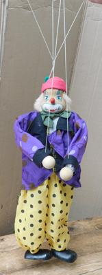 "Large vintage clown puppet with wooden head, hands and feet - 24"" tall"