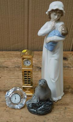 Collection of miscellaneous incl. Beswick seal - (whisky decanter unopened), ceramic girl with child, boxed crystal clock