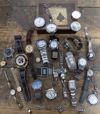 Large assortment of watches and watch faces