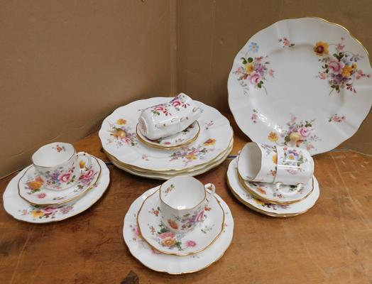 R.C.Derby Posy coffee set, 4x sandwich plates and 2x cups & saucers - immaculate condition