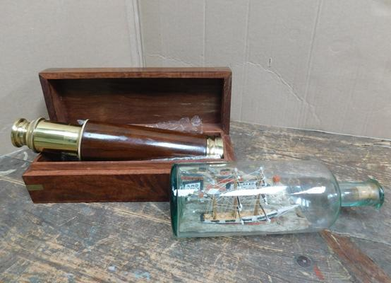 Brass monocular collapsible telescope in original wooden inlaid box + vintage ship in a bottle