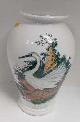 Large Portmeirion Birds of Britain, Little Egret vase, approx. 10.5 inches by E. Donovan