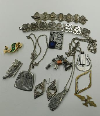 Selection of modernist white metal costume jewellery
