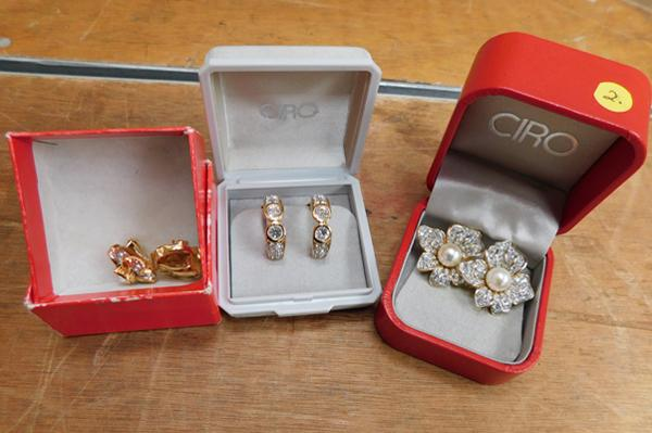 3x Pairs of Ciro clip on earrings