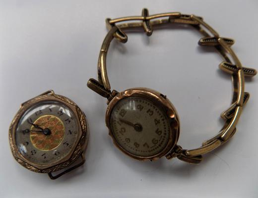 2x Vintage gold cased ladies watches