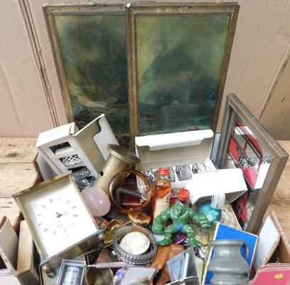 Box of antique and vintage collectables incl. lighters, pocket watch, jewellery, Victorian art, brass ect.