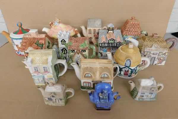 Large collection of ceramic novelty teapots