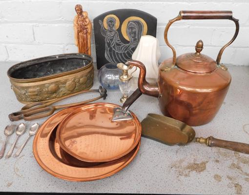 Quality box of copper & brass + various religious antique/vintage items