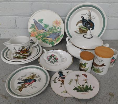Box of Portmeirion Birds of Britain + Doulton plates, jars, table mats etc...