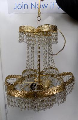 Gold cascade crystal chandelier