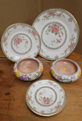 2x Poole pottery Posy bowls and 3x Royal Doulton display plates - Canton