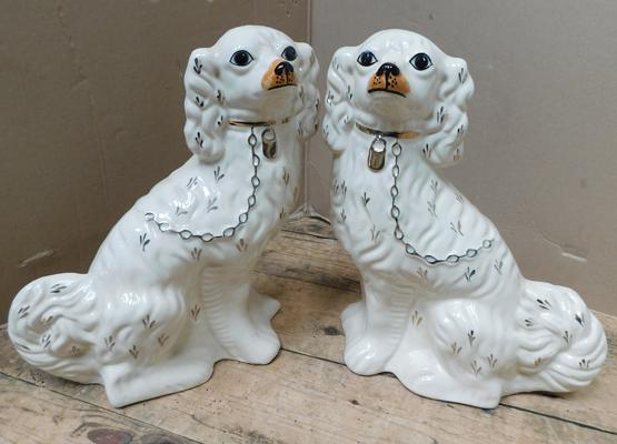 Pair of Staffordshire/ Walley fireside dogs