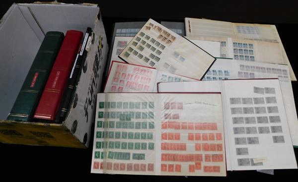 Box containing 14 stock books of stamps