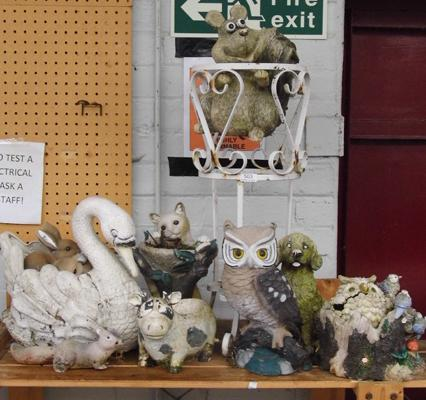 Large selection of plastic garden ornaments - as seen