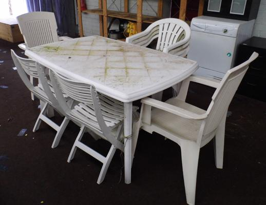 White patio table & selection of chairs