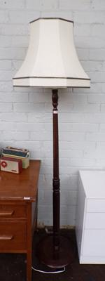 Vintage oak coloured standard lamp & shade - unchecked