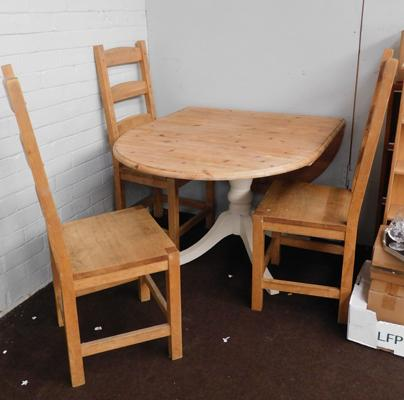 Pine oval folding table + three chairs