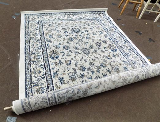 Large grey and blue rug