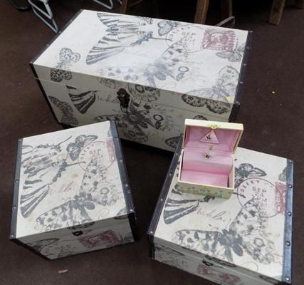 Large fabric chest and 2x smaller and childs jewellery box