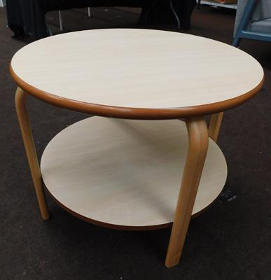 New/unused, circular coffee table with shelf