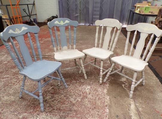 4x Painted hardwood chairs