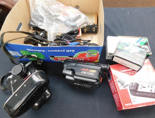 Box of photographic memorabilia incl.  cameras & chargers, as seen