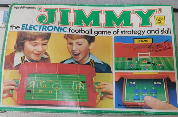 Vintage 1970 Waddingtons Jimmy electronic football game - with adaptor, also lights up when plugged in