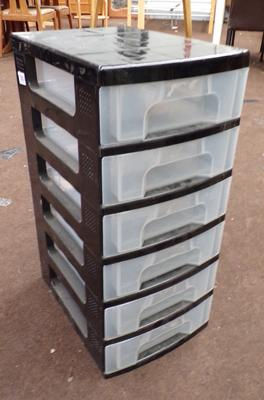 Six drawer container unit