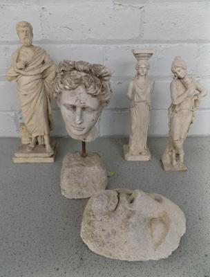 Collection of Greek plaster and stone figures