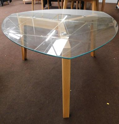 Glass topped trilobe table, approx. 54 inches wide